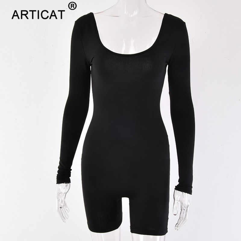 Articat длинный рукав Bodycon Rompres женский s сексуальный комбинезон с открытой спиной тощий короткий комбинезон осень зима повседневные женские комбинезоны