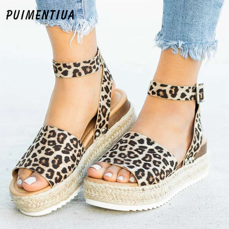 Puimentiua Leopard Wedges Sandals Flop Summer Shoes High-Heels Comfort Femme Women Platform