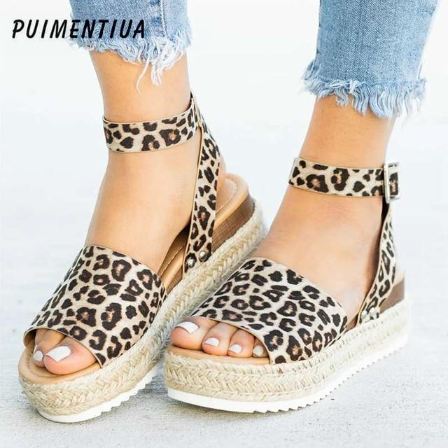 Puimentiua/удобные леопардовые босоножки на танкетке для женщин, летняя обувь на высоком каблуке, 2019 Вьетнамки, chaussures femme, босоножки на платформе