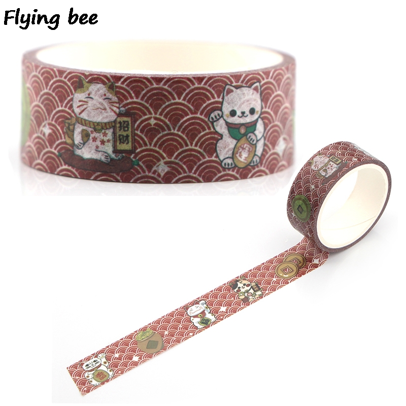 Flyingbee 15mmX5m Paper Washi Tape Lucky Cat Funny Adhesive Tape DIY Scrapbooking Sticker Kawaii Masking Tape X0334