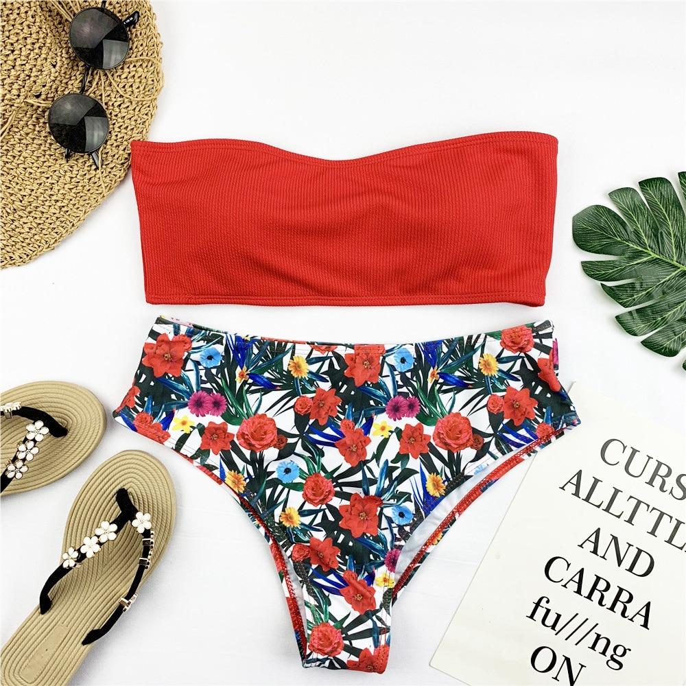 Sexy Bandeau Bikini Set Women Floral Print Swimwear Push Up Swimsuit Brazilian Biquini Pink Bikinis Pad Bathing Suit Beachwear