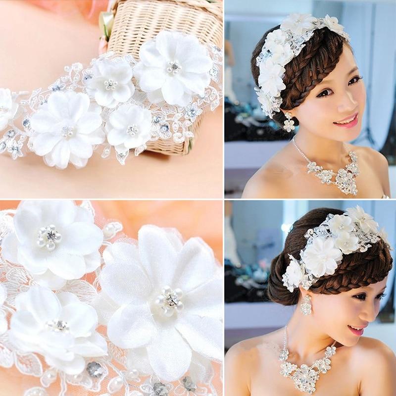 Bijeli čipkasti cvjetovi Kristalna biserna traka za glavu Glava u - Modni nakit - Foto 6