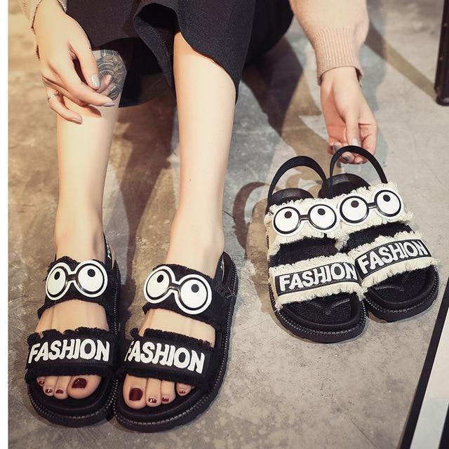 e82a4f354c672 2019 Summer Women Shoes Beach Sandals Thick Sole Cartoon Sandals Fashion  Young Women Sandals Sweet Girls Summer Shoes A767