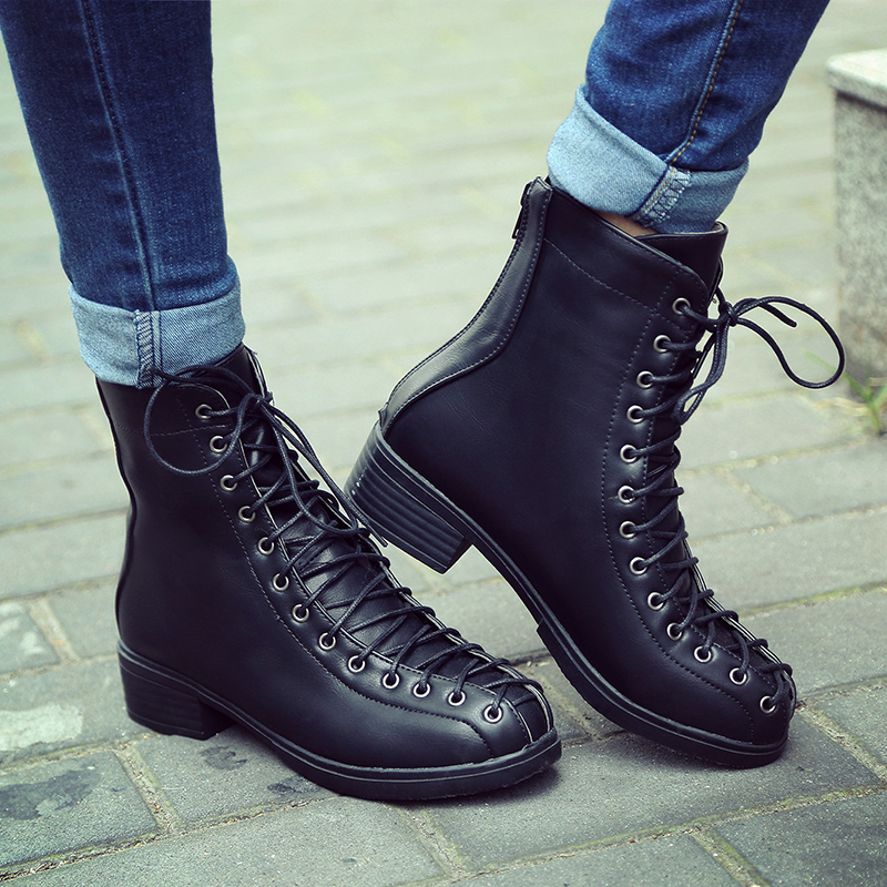 ФОТО BISI GORO lace up women boots 2017 chunky heel horse boots platform leather ankle boots women autumn shoes black boots female