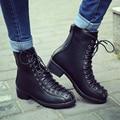 Nueva moda lace up mujeres 2017 botas de tacón grueso caballo botas de cuero plataforma botines zapatos mujer otoño botas negras femenino
