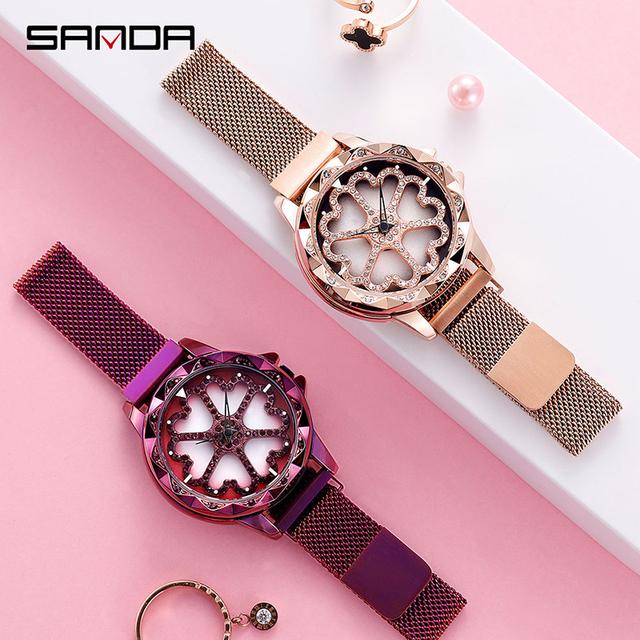 SANDA Rose Gold Women Watches Ladies Fashion Luxury Brand Quartz Wrist Watch For Women Clock Female Wristwatch Relogio Feminino