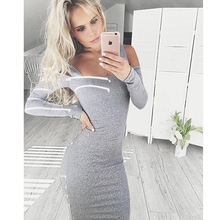 Korean Autumn bandage vestidos de playa backless clothes Long Sleeve Off Shoulder bodycon dress robe longue