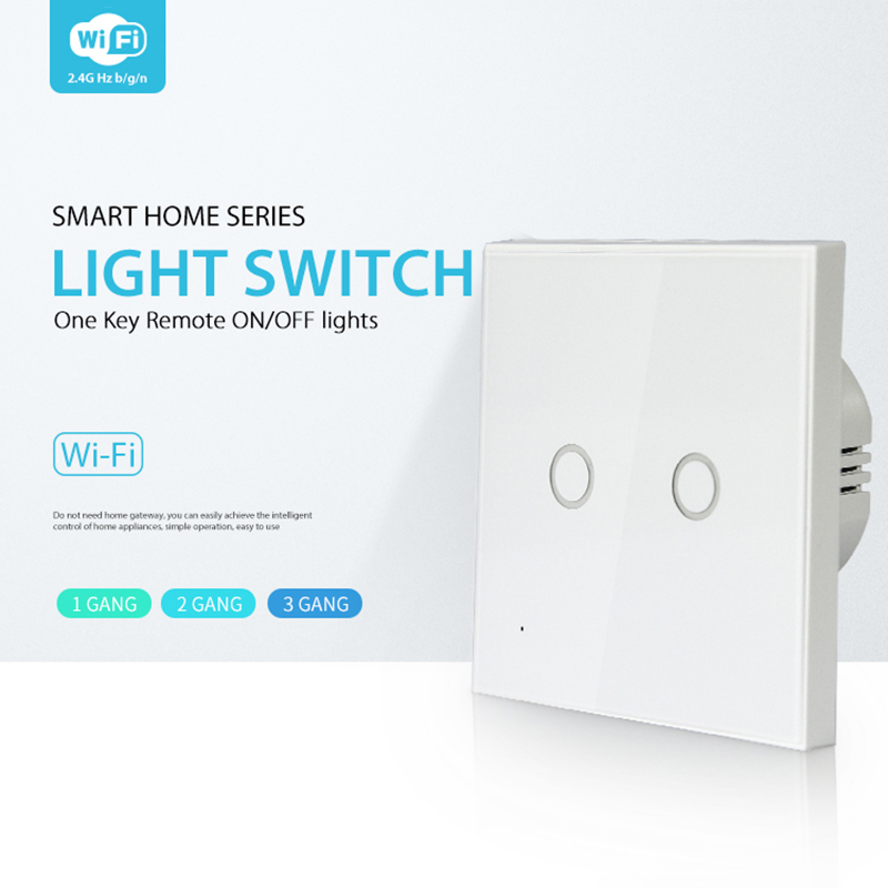 NEO Coolcam Wifi 2Gang Wall Light Switch Glass Panel Touch LED Lights Switch For Smart Home Support Google Home Alexa And IFTTT