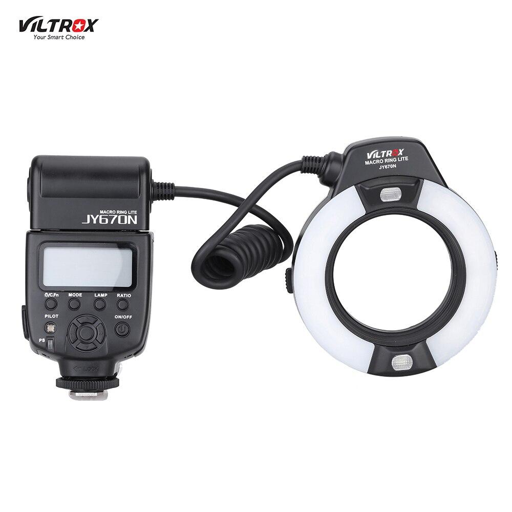 Viltrox JY-670N Sur-caméra je-TTL Macro Close-up Remplir-dans LED Anneau Flash Speedlite Lumière pour D3300 DSLR Caméra avec Adaptateur Anneau
