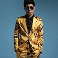 2016 nuevo llegado hombres moda delgado flor de la impresión ocasional traje conjunto chaqueta + pantalones masculinos cantante DJ etapa desgaste de baile traje de chaqueta