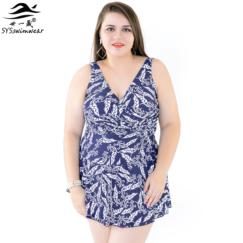 High Quality Plus size One piece Swimwear Print Skirt Swimsuit Big women New  Beach clothes maillot de bain Deep-V Bathing Suit one piece swimsuit cheap sexy bathing suits may beach girls plus size swimwear 2017 new korean shiny lace halter badpakken