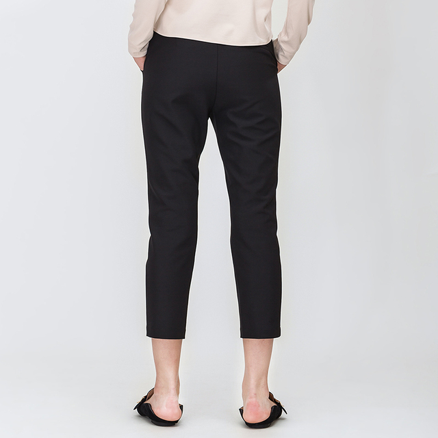 Spring New Simple Pure Color Slender Pencil Pants Mid Waist Women Casual Trousers Black