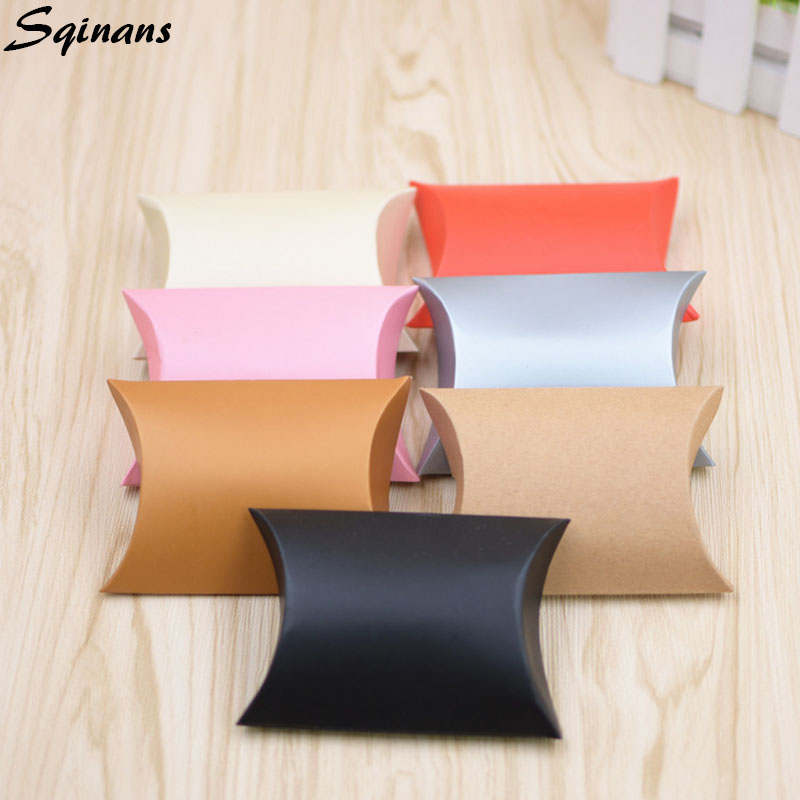 10pcs/Lot Wedding Box Gift Candy Packaging Box Pillow Shape Candy Box Gift Bags Wedding Favor Gift Box Kraft Paper Party Bags