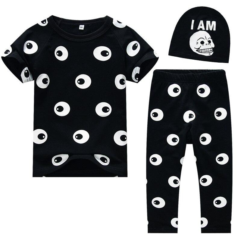 Mode Baby Meisjes Jongens Kleding Set T-shirt + Broek + hoed 3 stks - Kinderkleding