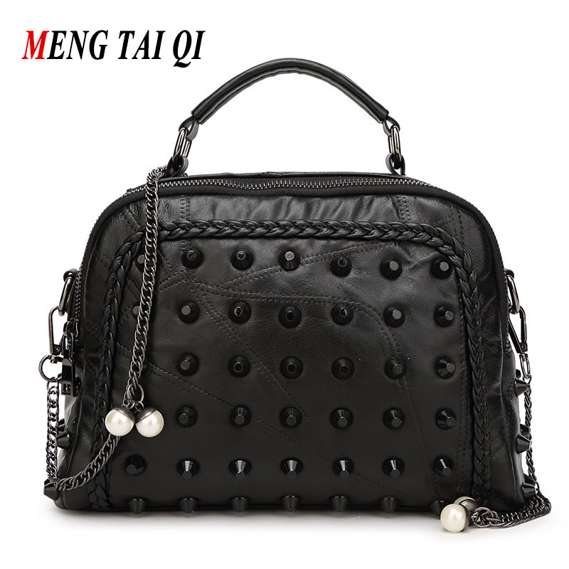 Genuine Leather Bags Women Bag Fashion High Quality Luxury Handbags Women Bags Desinger Shoulder Messenger Bags Chains Rivet 3 fashion vintage women s handbags quality pu leather crossbody bags for teenager girls chains shoulder bag desinger clutch bags