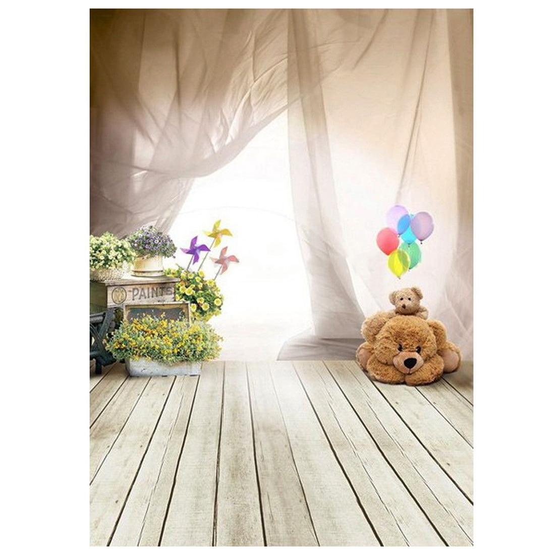 1m x 1 5m Lovely Bear Floor Balloon Studio Backdrops Children Photography Background