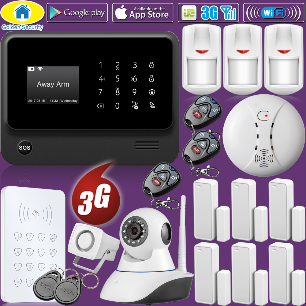 Golden Security WiFi Home Burglar Security 2G 3G GSM Alarm System Wireless Infrared Sensor RFID Keyboard Control Kit IP Camera 2017 advanced tcp ip burglar gsm alarm system security home alarm system gprs alarm system with rfid tag function