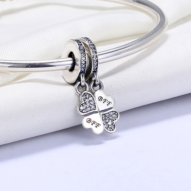 New 925 Sterling-Silver-Jewelry Best Friends Forever BFF Clover Pendant Charms Fit Pandora Bracelet CZ Pave Hearts Beads make up