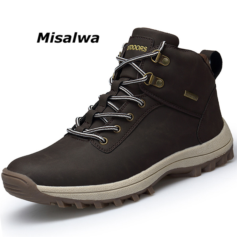 Misalwa Brand New Spring Winter 2018 Ankle Boots Men Retro Lace-Up Wool Snow Boots Male Safety Shoe Botas Hombre Freeshipping fashion men s formal martin boots mens leather ankle boots lace up male boots footwear botas hombre spring autumn winter shoe