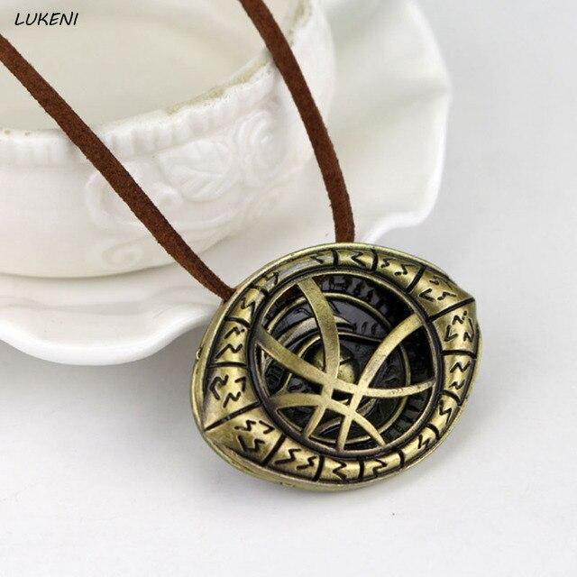 1Pcs Hot Sell Fantasy Film Doctor Strange Necklaces Pendants Vintage Dr.Strange Eye Pendant Leather Chain Choker Necklace