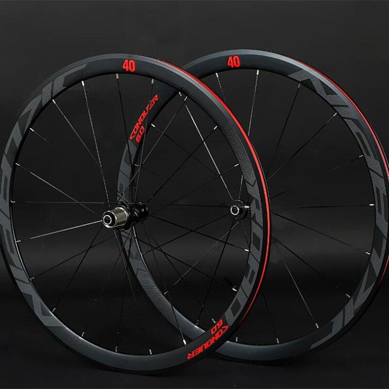 JKlapin 700C 4 paire de roues à roulement scellé super-léger en alliage d'aluminium route vélo à rayons plats racing 40mm jantes avec anti-curseur
