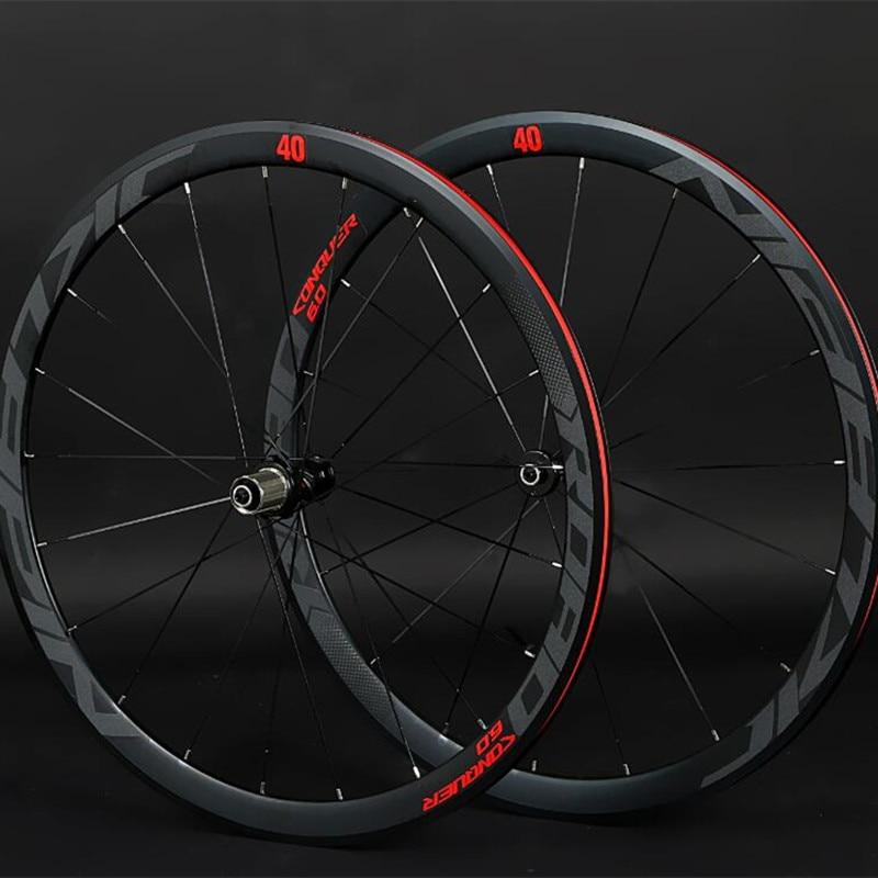 Jklapin 700c 4 selado rolamento rodado super-leve liga de alumínio estrada bicicleta plana raios que compete jantes de 40mm com anti-cursor