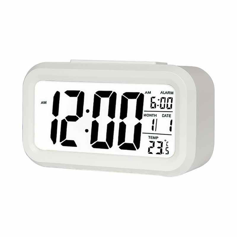 1Pcs LED Digital Alarm Clock Electronic Smart Mute Clock Backlight Display Temperature & Calendar Snooze Function Alarm Clock