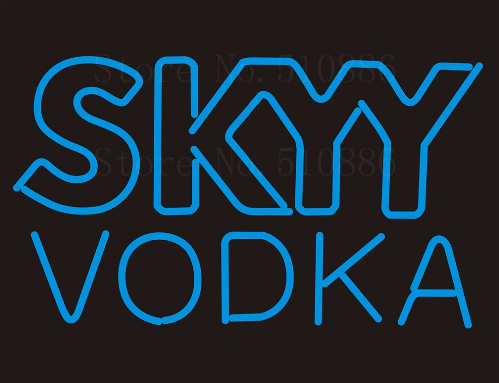Custom NEON SIGNS board For SKYY VODKA restaurant Store REAL GLASS Tube Signage BAR PUB Club Shop Light Sign 17*14 custom signage neon signs pizza beer real glass tube bar pub signboard display decorate store shop light sign 17 14