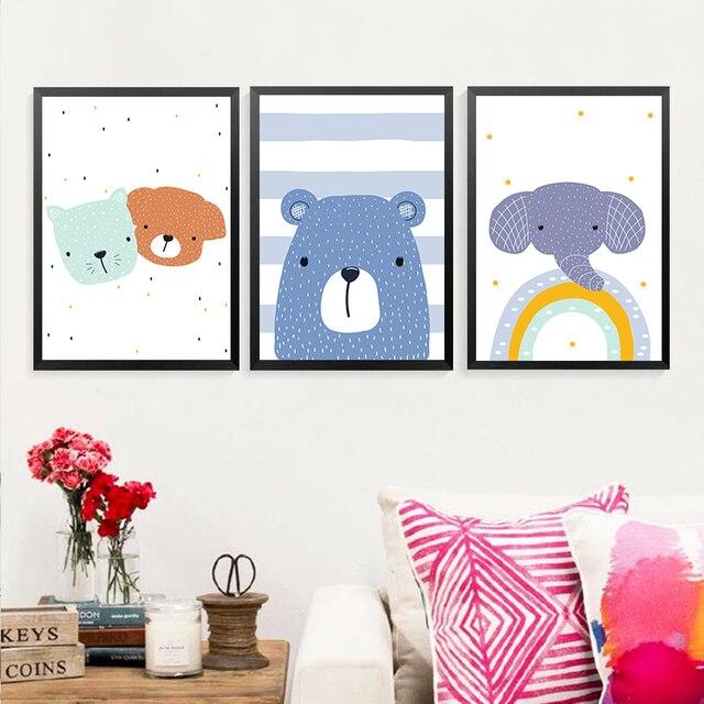 Cute Cartoon Animal Elephant Bear Baby Children Room Canvas 1