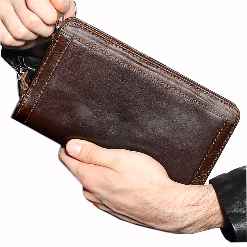 Brand Mans Plånböcker Äkta Läder Mynt Dubbla Zipper Pocket Mäns - Plånböcker - Foto 4