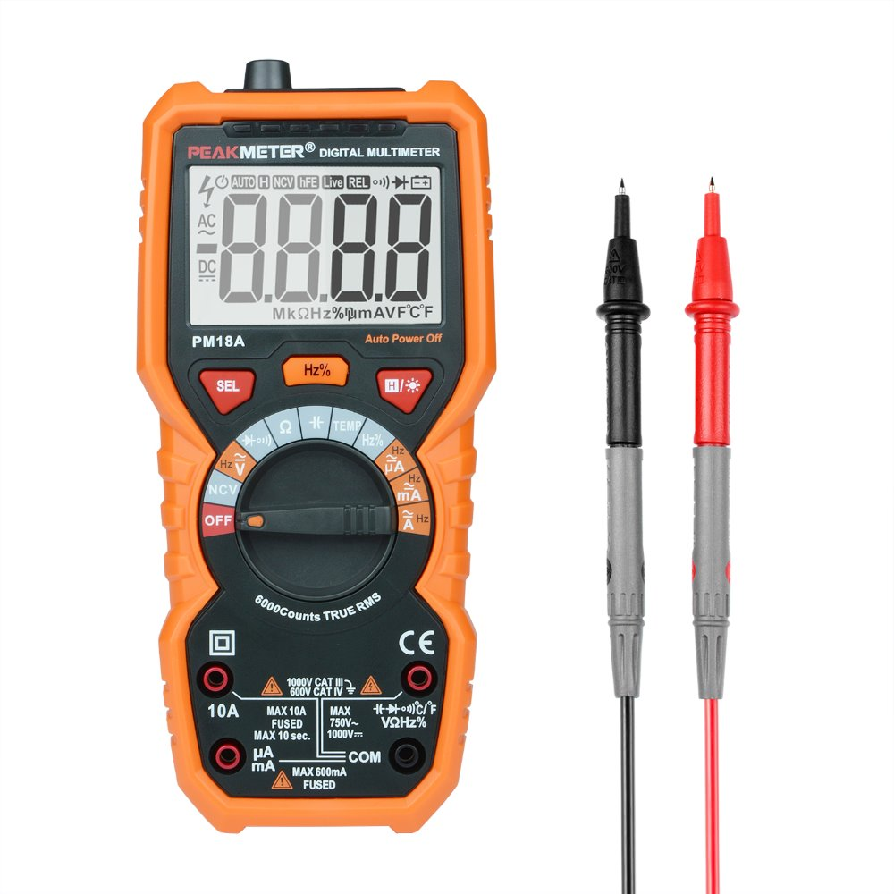 PEAKMETER Multimeter Voltmeter Ammeter PM18A with True RMS AC DC Voltage Resistance Capacitance Frequency Temperature NCV Tester