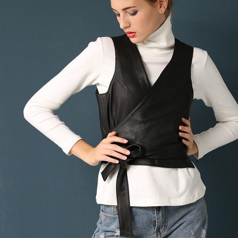 Designer italien Élégant Ceinture Slim Fit V Cou Gilet Femmes Casual Courte Wasitcoat Outwear Manteau en peau de Mouton Véritable Veste En Cuir