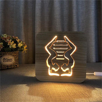 Yoga Lamp Gym Wood 3D Illusion Lamp Carving Creative LED Night Light USB Desk Table For Kids Gift Home Decoration Drop Shipping