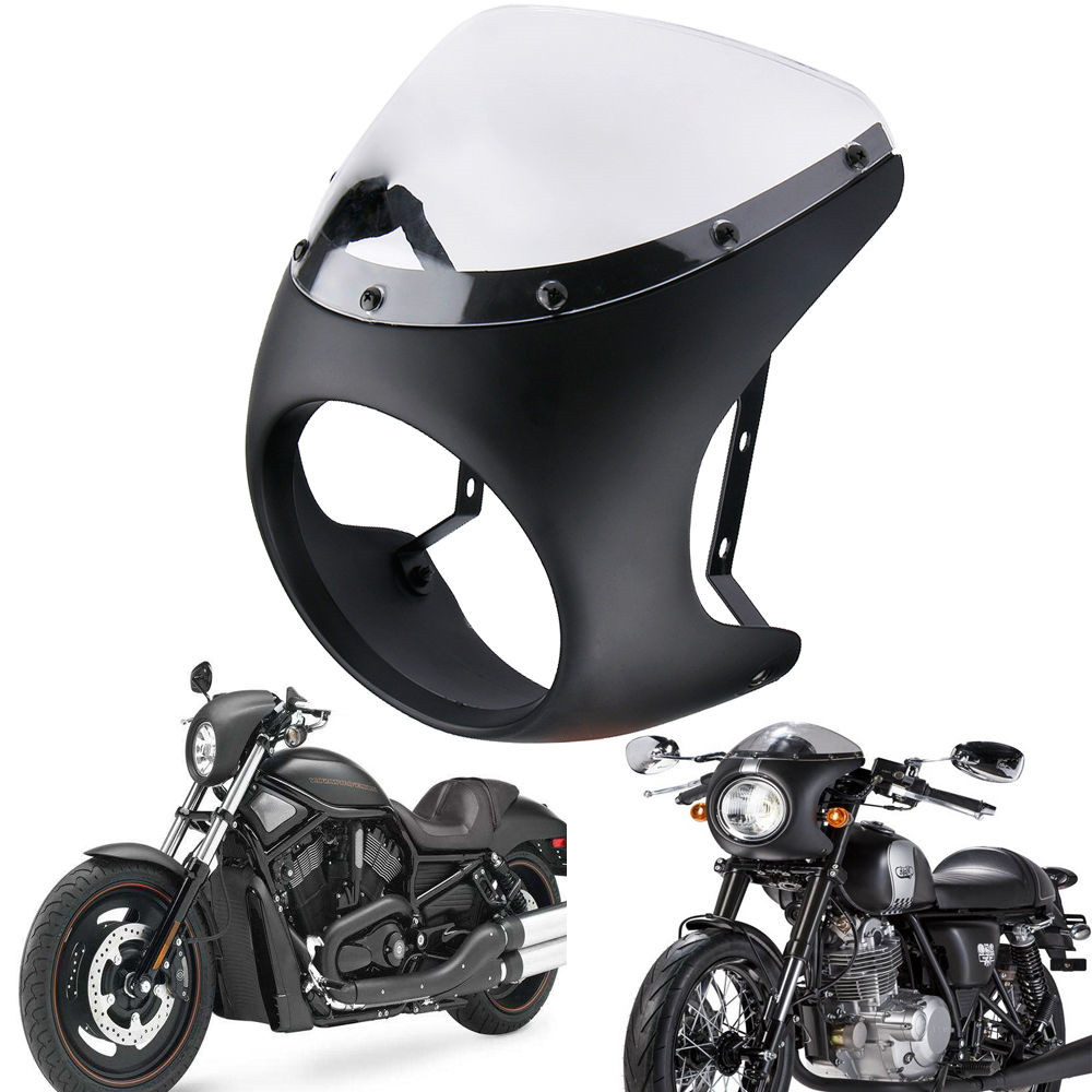 Universal 7 Headlight Handlebar Fairing Windshield Cafe Racer For Harley Dyna Sportster 1200 883 FLHT Bobber