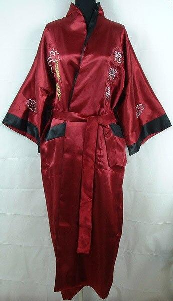 Горячий Новый Бургундия Черный Реверсивные Китайских людей Шелковый Атлас Одеяние Вышивка Халат Двуликий Пижамы Один Размер MR010
