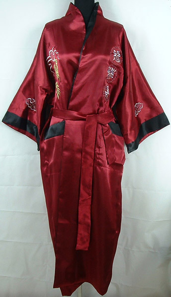 Hot New Burgundy Black Chinese Men's Silk Satin Reversible Robe Embroidery Bathrobe Two-Face Sleepwear One Size MR010