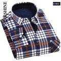 2016 Nova Camisa Inverno Quente dos homens Casuais Camisas de Manga Longa de Veludo Grosso Dos Homens De Alta Qualidade Camisas de Vestido Xadrez Masculino camisas