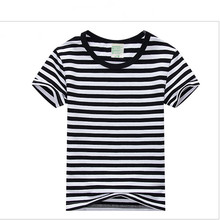 Простая футболка для мальчиков и девочек, унисекс, черно-белые хлопковые футболки в полоску, летняя детская одежда для 2, 3, 4, 6, 8, 10 лет, RKT174001