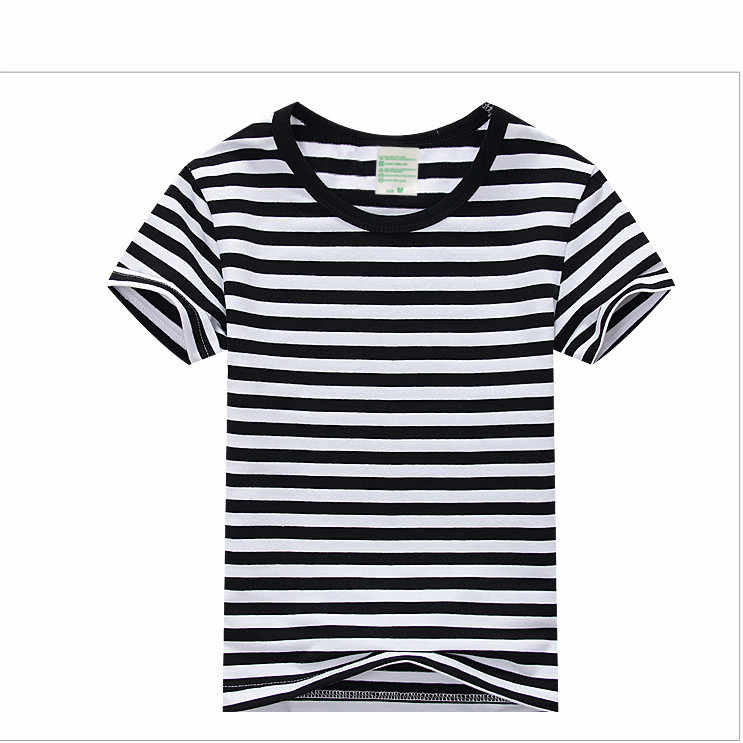 69bb5afaa72 Plain Girls and Boys T-Shirt Unisex Striped Black White Cotton Tops Tees  2018 Summer