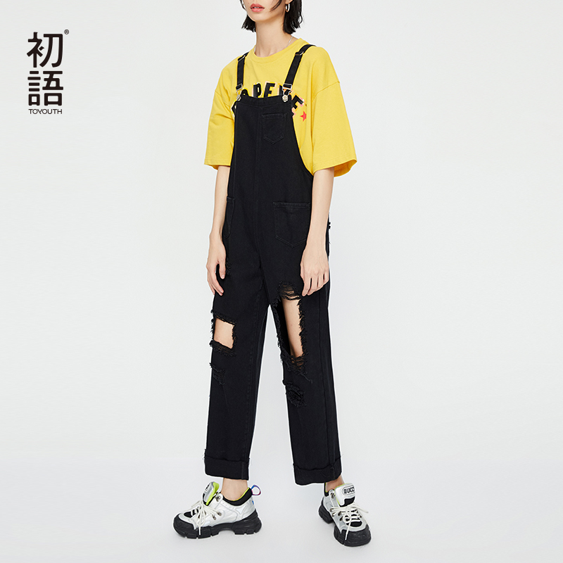 Toyouth Ripped Denim Jumpsuit Women Romper Black White Letter Printed Streetwear Jeans Jumpsuit Female 2019 Streetwear Overalls in Jumpsuits from Women 39 s Clothing