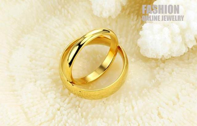 line Shop TSR316 Fashion 316L Stainless Steel Gold Color Couple
