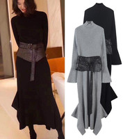 high quality 2019 women's dress Two piece leather Belt + black knit dress Turtleneck irregular winter maxi dress vestidos