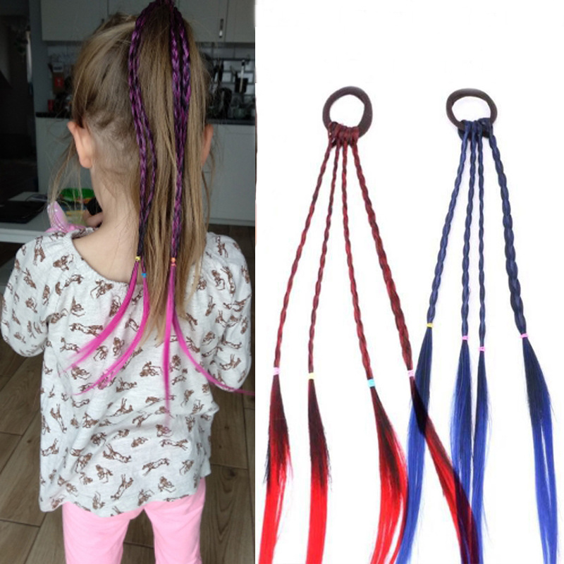 2018 Girls Colorful Wigs Ponytail Hair Ornament Headbands Rubber Bands Beauty Hairbands   Headwear   Kids Hair Accessories Head Band