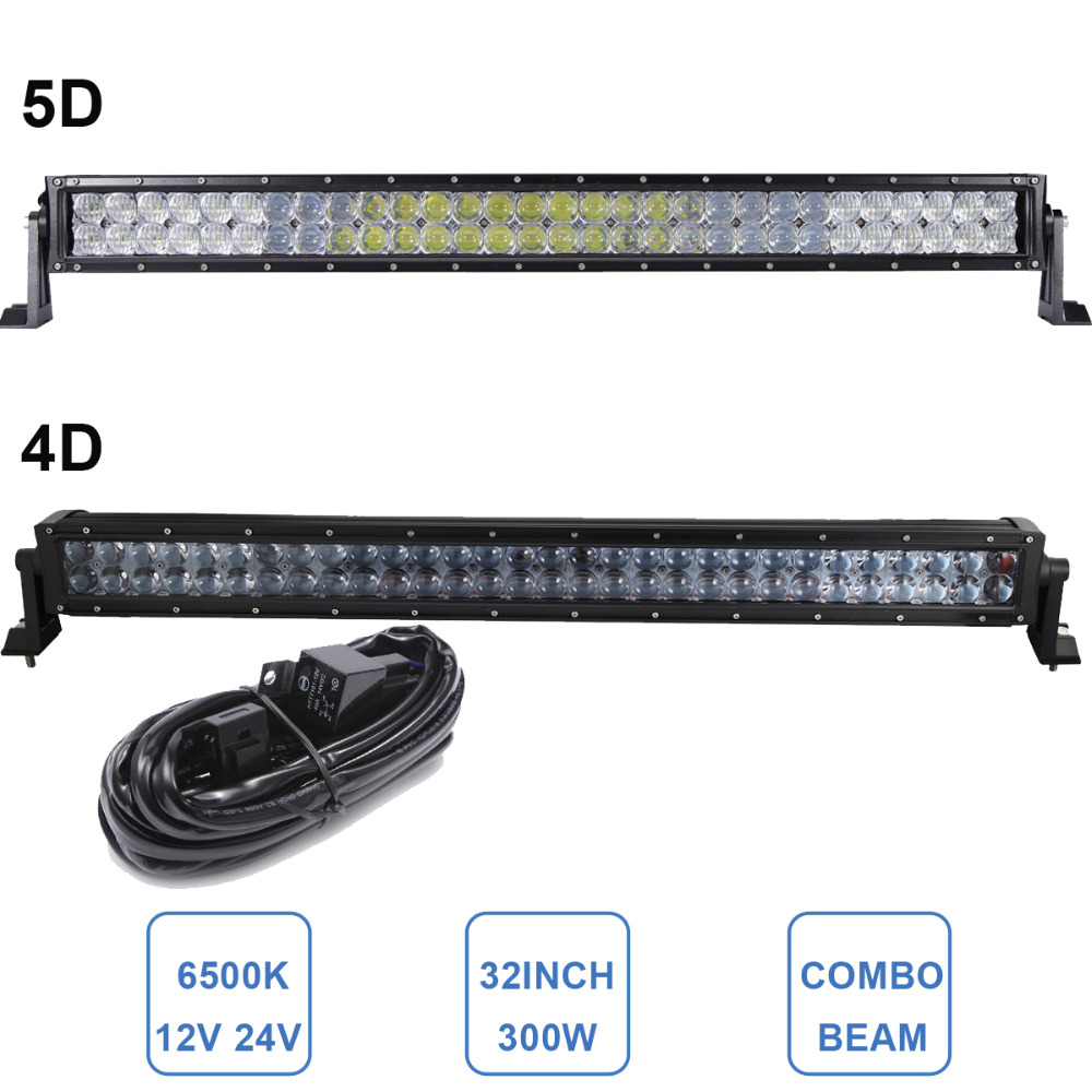 300W OFF ROAD 4D 5D LED LIGHT BAR 32'' CAR TRUCK ATV SUV BOAT TRAILER YACHT FARMING WAGON PICKUP CAMPING 4X4 AWD DRIVING LAMP 2pcs dc9 32v 36w 7inch led work light bar with creee chip light bar for truck off road 4x4 accessories atv car light