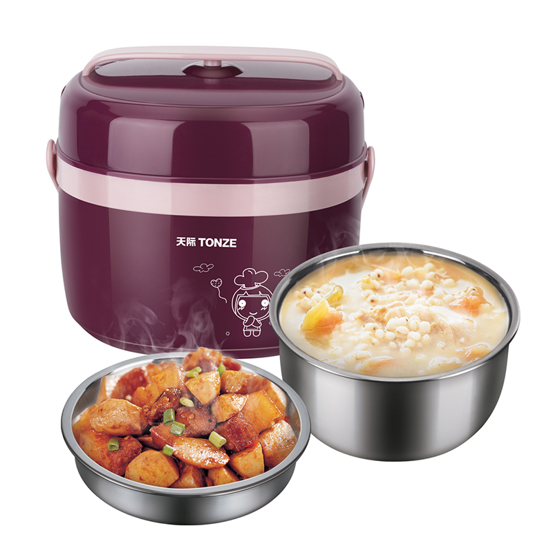 Tonze Electric Heated Lunch Box Stainless Steel 2 Layers 1L Mini Portable Electric Heating Insulation Boxes Rice Cooker