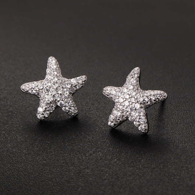 100% 925 Sterling Silver Paved  Sea Star Stud Earring For Women Latest Korean Fashion Silver Jewelry boucle d'oreille en argent