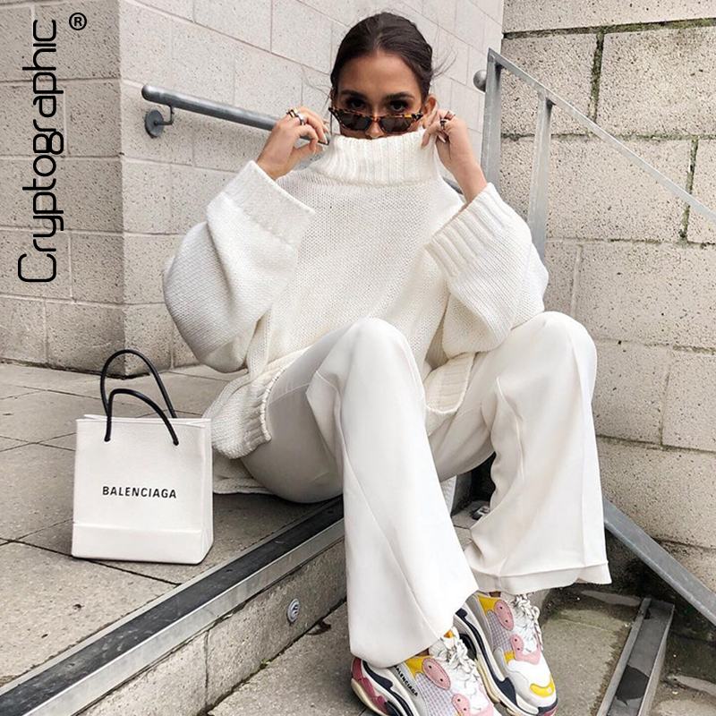 Cryptographic Autumn Winter 2019 Knitwear Pullover Sweater Women White Oversized Jumper Fashion Casual Turtleneck Basic Sweaters