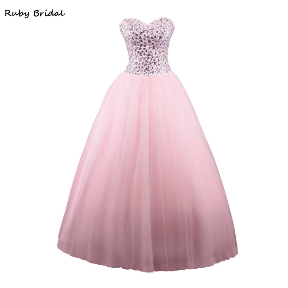 Rubí nupcial 2017 vestido de festa bola Vestidos de baile Rosa tulle ...