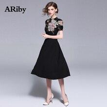 купить ARiby Women Dress Summer Empire Black Dress 2019 New Fashion Vintage Floral Embroidery Elegant Short Sleeved O-Neck A-Line Dress по цене 1693.41 рублей