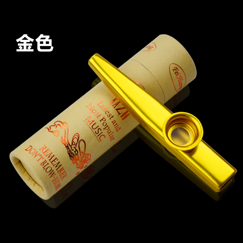 Free Shipping! Aluminium Material Kazoo With Paper Tube Case Colors In Gold/Silver/Purple/Red/Green/Blue